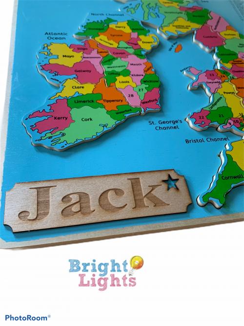 wooden British Isle map