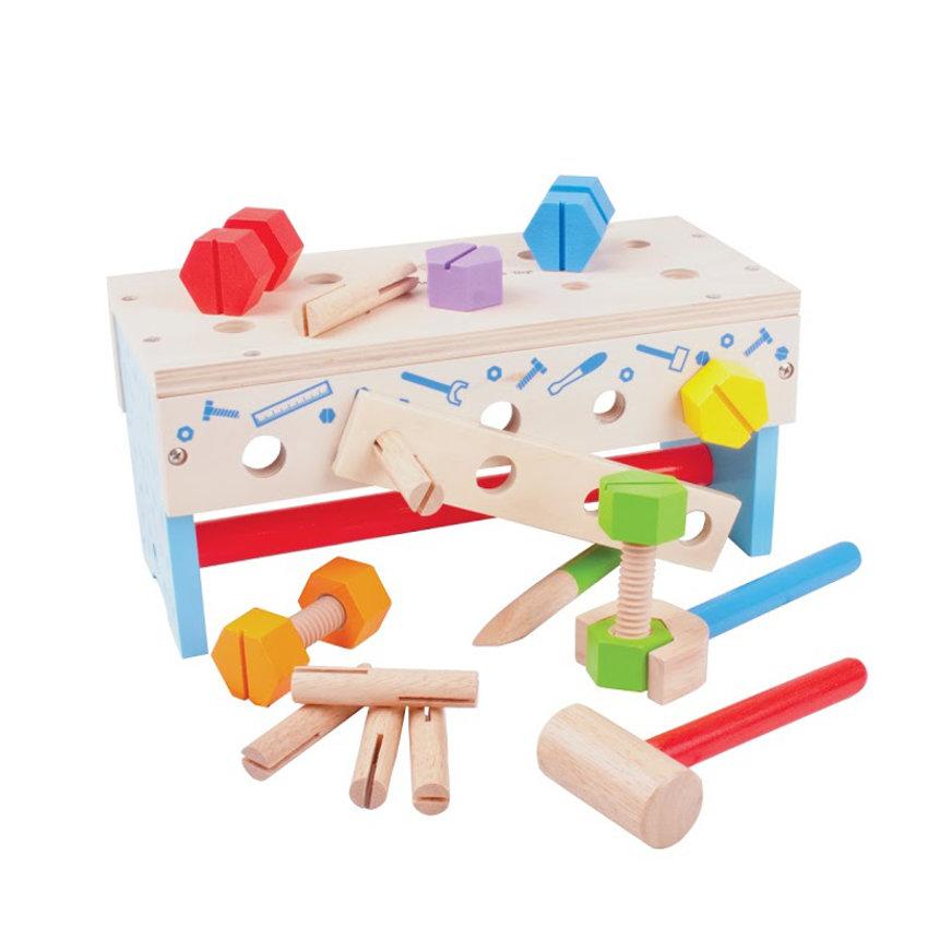 Wooden Toy Workbench Bright Lights