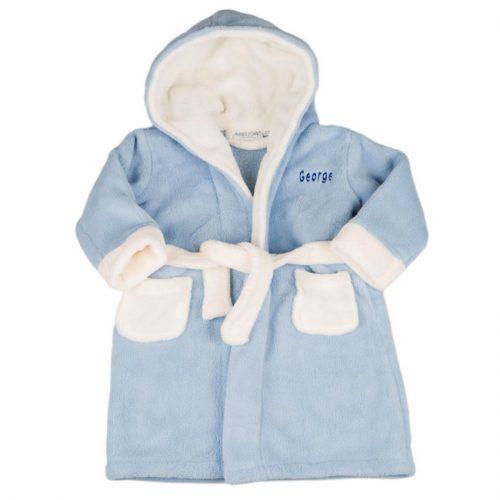 personalised blue hood dressing gown