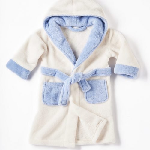 personalised cream blue dressing gown