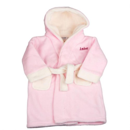 personalised pink cream dressing gown