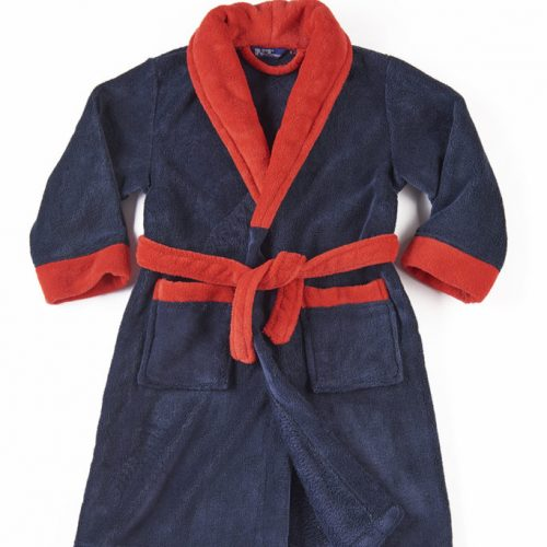 Personalised navy red dressing gown