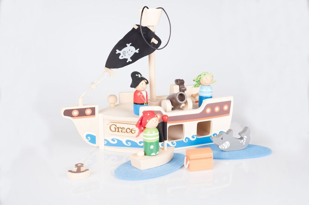 Pirate Ship Play Set Wooden Personalised