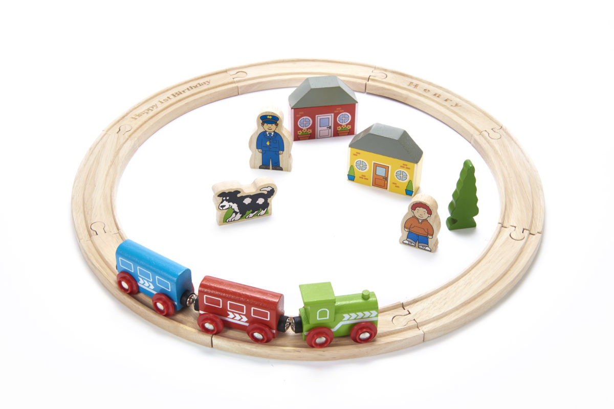 Wooden personalised train set