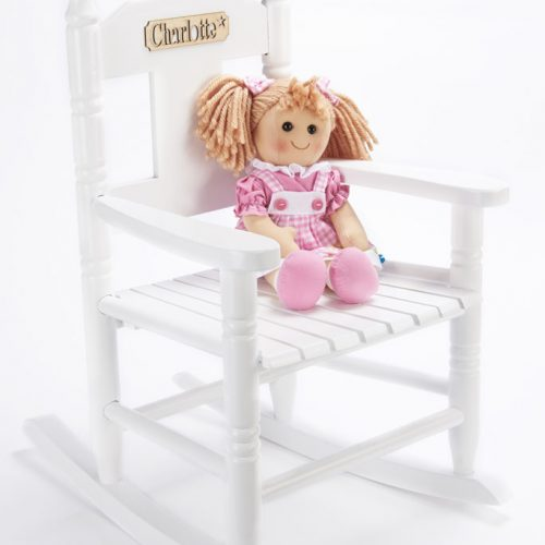 White wooden rocking chair for chidlren