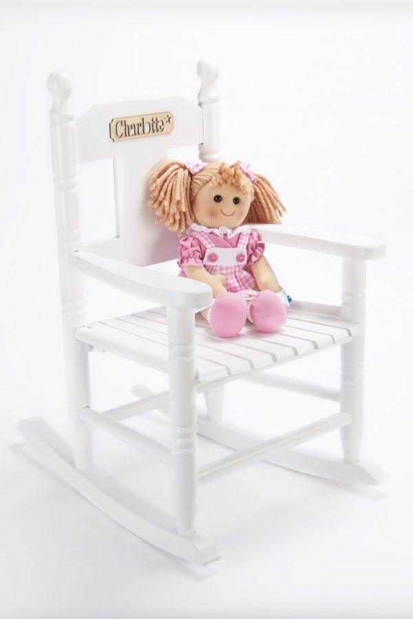 White wooden rocking chair for chidlren