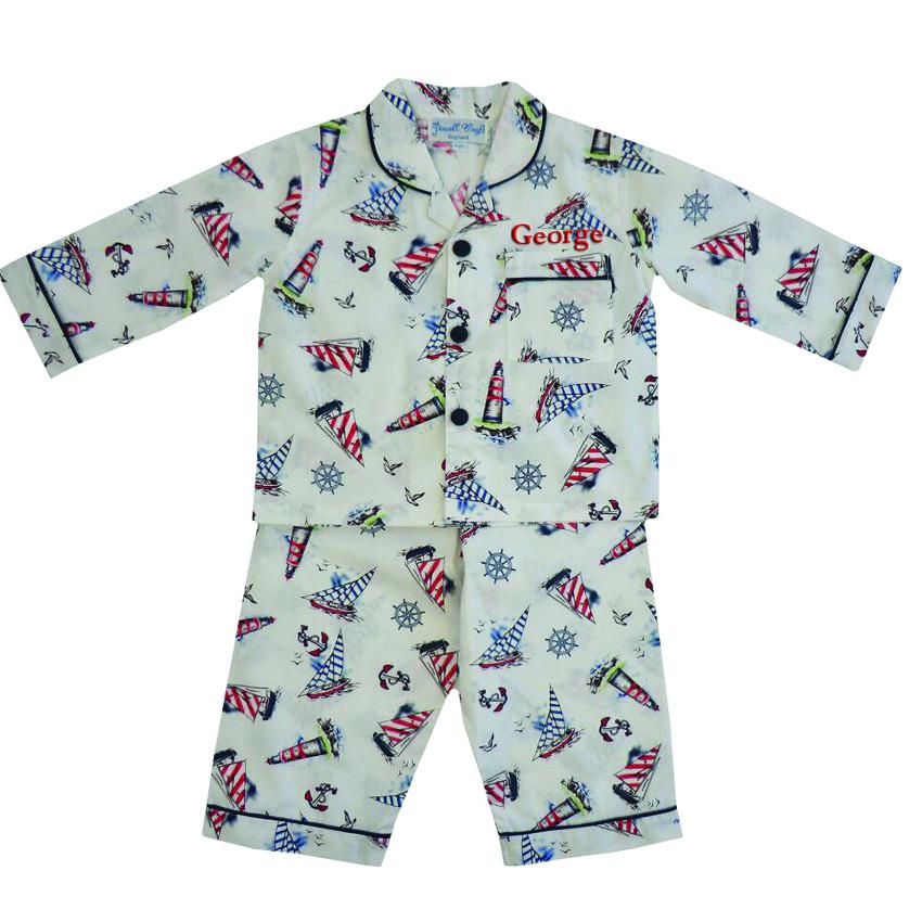 Art Décor: Personalise Traditional Pyjamas Nautical Themed For Boys