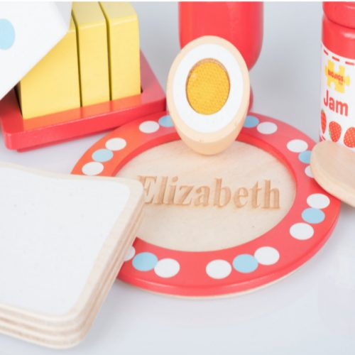 wooden breakfast set personalised