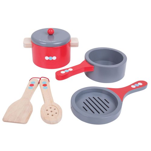 wooden pots and pans set