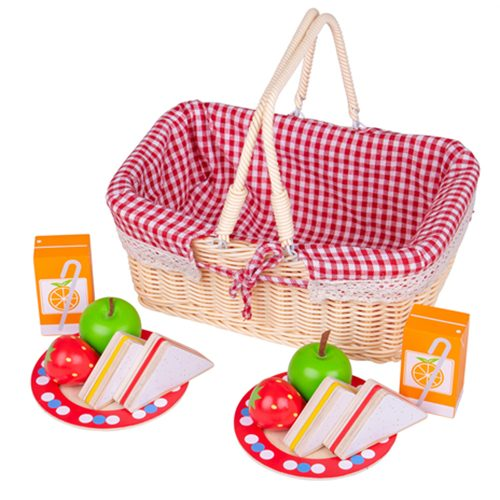 Toy picnic basket with wooden food