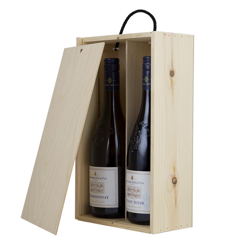Double wooden wine box