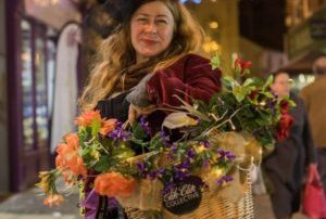 Image of victorian flower seller at Worcester Christmas Fayre