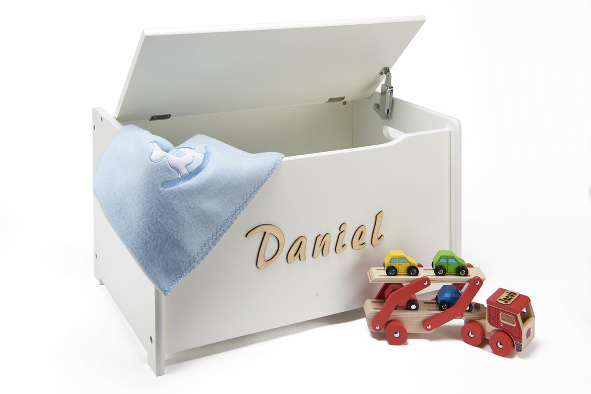 personalised wooden white toy chest for nurseries toy. Black Bedroom Furniture Sets. Home Design Ideas