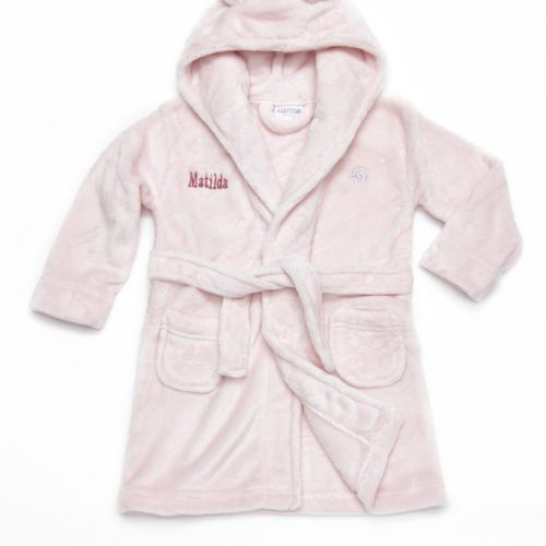 pink baby bathrobe
