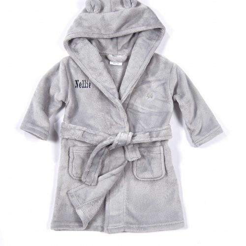 grey baby personalised dressing gown