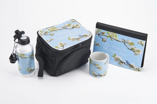 a collection of personalised items with a bespoke blossom spring design