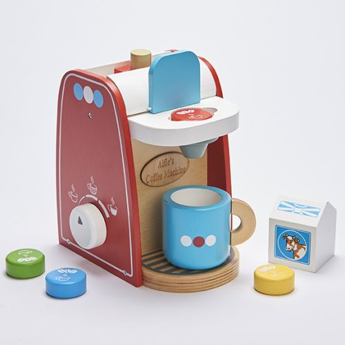 personalised wooden toy coffee machine