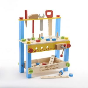 Peronalised toy wooden work bench and tools