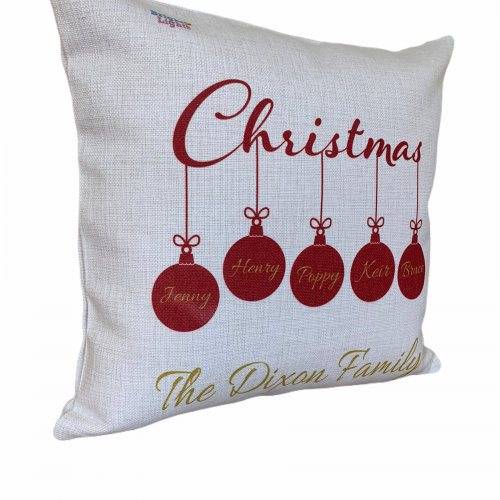 Personalised family baubles Christmas cushion