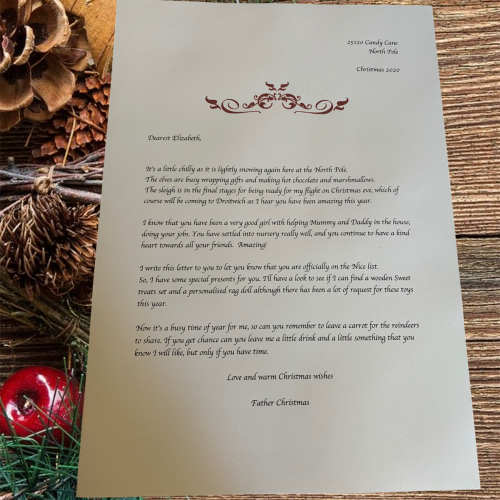 Official personalised Father Christmas letter