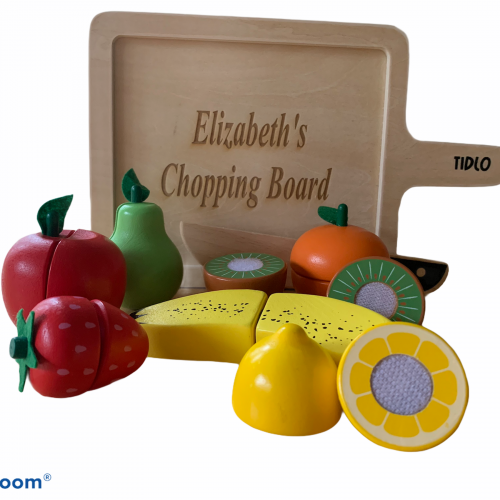 Personalised wooden chopping fruit and board set