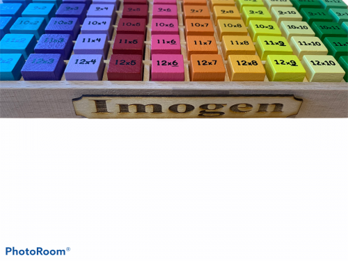 Personalised wooden multiplication tray